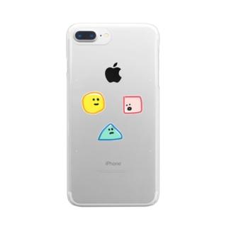 おもちのまる、さんかく、しかく Clear smartphone cases