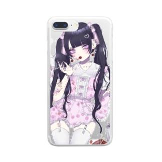 黒髪ツイン Clear smartphone cases