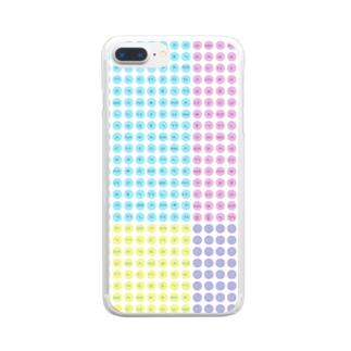 LalaHangeulのハングルスマホケース ドット ~白地パステル~ Clear smartphone cases