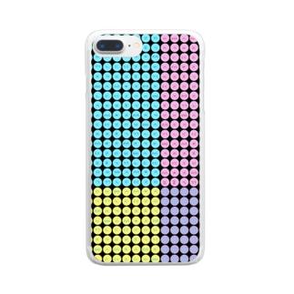 LalaHangeulのハングルスマホケース ドット~黒地パステル~ Clear smartphone cases