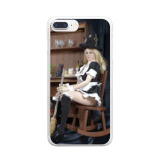 ドール写真:箒を持つブロンドの魔女 Doll picture: Pretty witch has a broom Clear smartphone cases