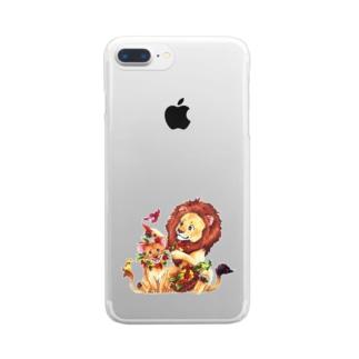 親子ライオン Clear smartphone cases
