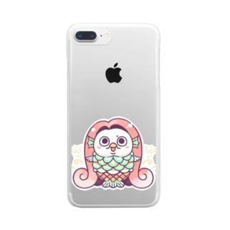 アマビエxモチゾー Clear smartphone cases