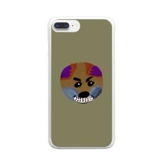 イニシャル頭文字 背景色有り文字絵「O」スマホケース Clear smartphone cases