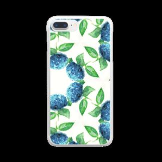 コウイチ イケノの朝顔輪紫陽花 Clear smartphone cases