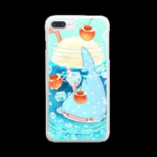 鈴のブルーハワイメロンソーダじんべえざめ Clear smartphone cases