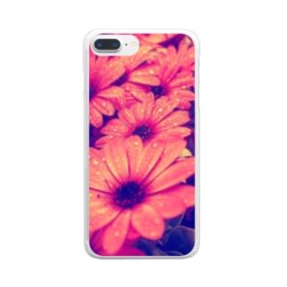 水滴つややくお花 Clear smartphone cases