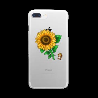 四色アペンド+のヒマワリス Clear smartphone cases