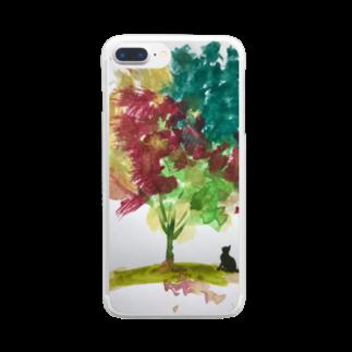 ️️🐈ひろゆき🐾のカラフル樹木と猫 Clear smartphone cases