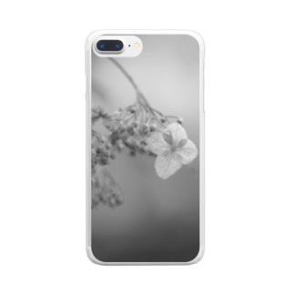 siousakuのモノクローム 紫陽花 Clear smartphone cases