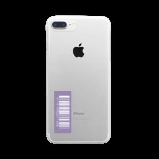 amy_sのカラーバーコード_ムラサキ(タテ) Clear smartphone cases