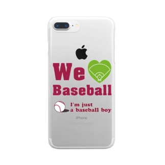 We love Baseball(レッド) Clear smartphone cases
