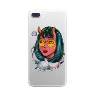 黄色いメガネの悪魔 Clear Smartphone Case