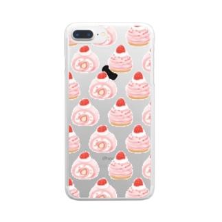 苺ロールケーキ×モンブラン Clear smartphone cases