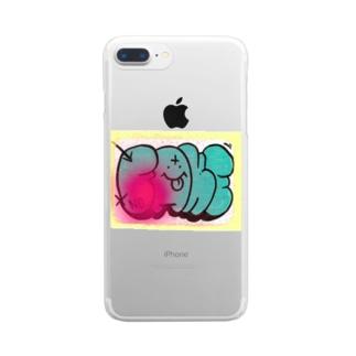 graffiti FAKE シール Clear smartphone cases