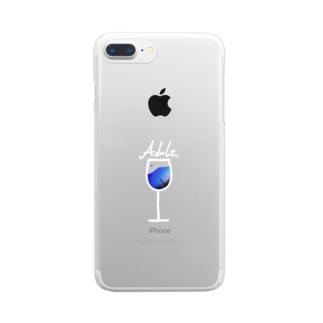 ワイングラス(白線) Clear smartphone cases