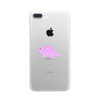 眠たいキョウリュウ ピンク Clear smartphone cases