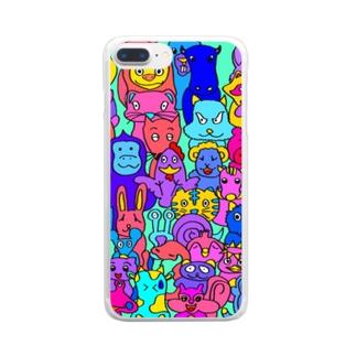 カラフルアニマルスマホケース Clear smartphone cases
