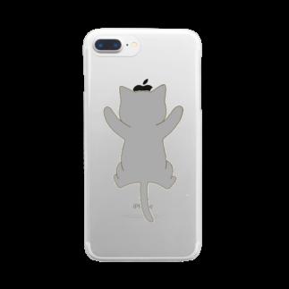 ゆめかわ屋 いそぎんちゃくのしがみつく灰色猫 Clear smartphone cases