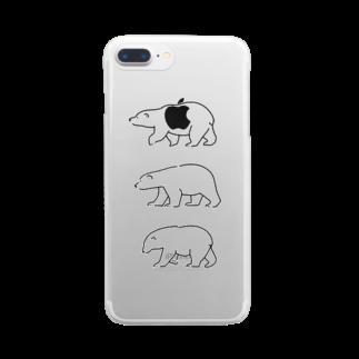 ハルクマのシロクマトリオ Clear smartphone cases