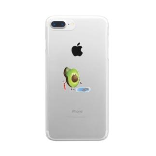 アボカドくん Clear smartphone cases