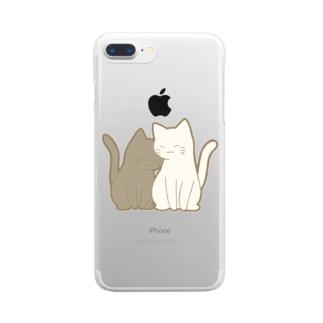 仲良し猫 黒&白 Clear smartphone cases