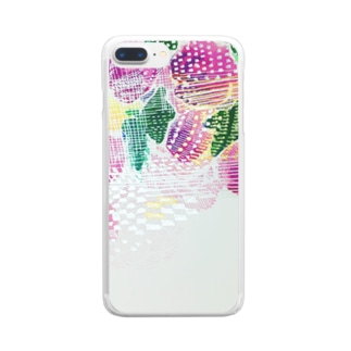 peonicの芍薬桃苺 Clear smartphone cases