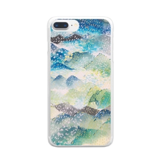 peonicの山に雨 Clear smartphone cases