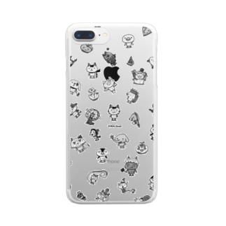 ちびギャラ集合チラシ 黒 Clear smartphone cases