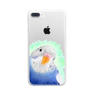 セキセイインコ オパーリン大【まめるりはことり】 Clear smartphone cases