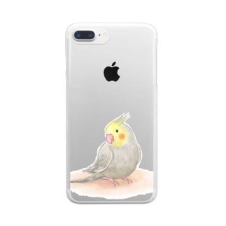 オカメインコ シナモン【まめるりはことり】 Clear smartphone cases