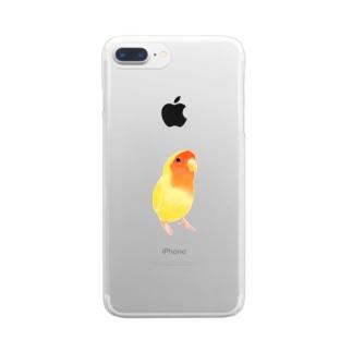 コザクラインコ おすましルチノー【まめるりはことり】 Clear smartphone cases