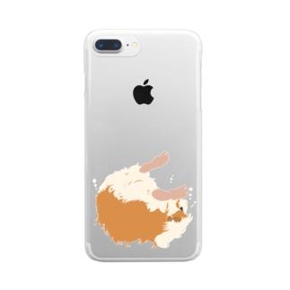 空中と水中を漂うモルモット Clear smartphone cases