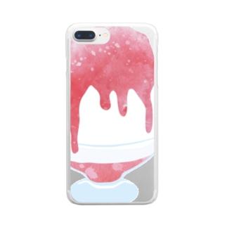 かき氷 いちご Clear smartphone cases