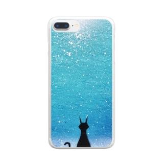 猫のいる街 Clear smartphone cases