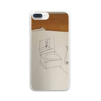 ラフスケッチの風呂 Clear smartphone cases