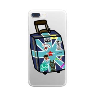 マコのお絵かきトランク Clear smartphone cases