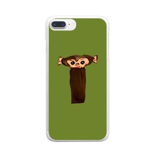 イニシャル頭文字 背景色有り文字絵「T」スマホケース Clear smartphone cases