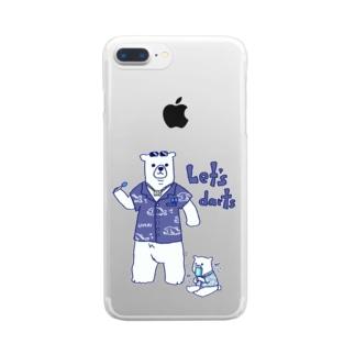 ダーツする白熊さん🎯 Clear smartphone cases