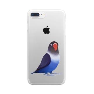 ボタンインコ おすましコバルトブルー【まめるりはことり】 Clear smartphone cases