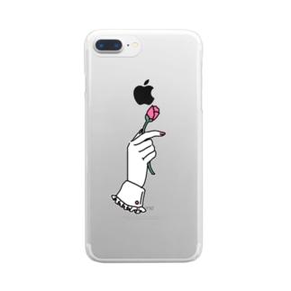 花を掴む手 Clear smartphone cases