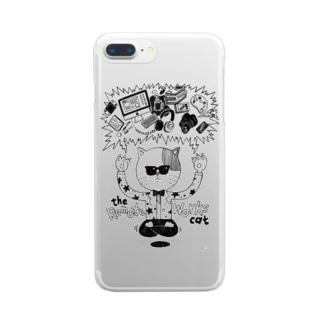リモートワークを曲解した猫 Clear smartphone cases