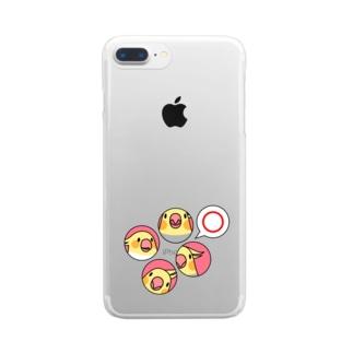 オカメインコまる〇【まめるりはことり】 Clear smartphone cases