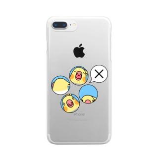 オカメインコばつ×【まめるりはことり】 Clear smartphone cases