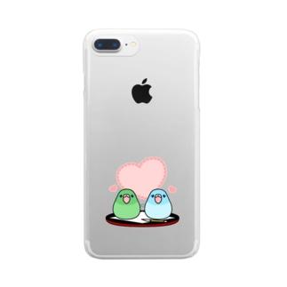 まめるりはことりのまめ大福マメルリハ【まめるりはことり】 Clear smartphone cases