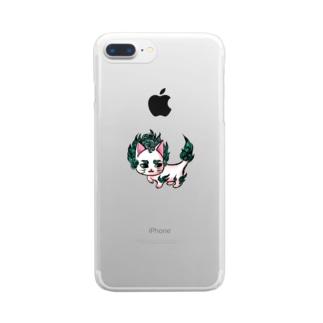 唐獅子にゃんこ Clear smartphone cases