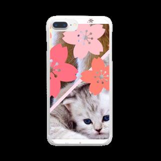 テル!のお店のサクラとニャンコの親子 Clear smartphone cases