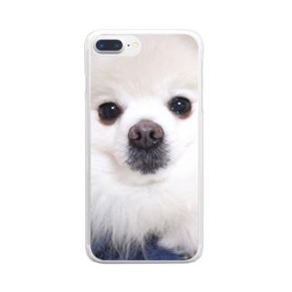あおやま商店のかわいすぎるポメラニアンのスマホケース Clear smartphone cases
