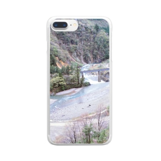 日本の山:田沢湖線が見える風景 Japanese mountain and rail Clear smartphone cases