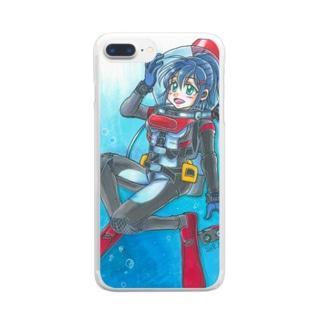 ダイビング娘さん Clear smartphone cases